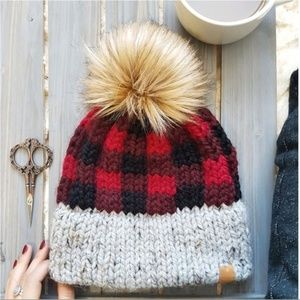 Red Plaid Pom Pom Beanie